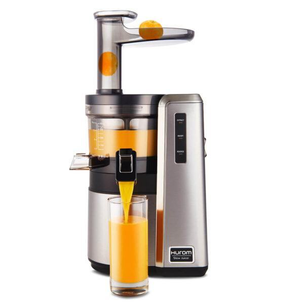 Hurom HZ slow juicer extracting juice